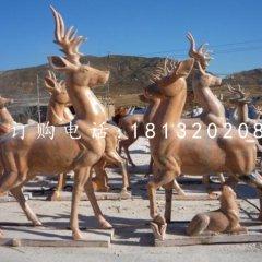 晚霞紅梅花鹿雕塑 公園動物石雕