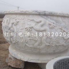 龙浮雕水缸 圆形石水缸