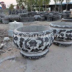 圆形水缸石雕,青石水缸