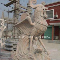 晚霞红凤凰石雕 古代神兽石雕