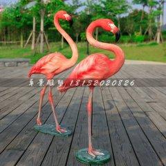 玻璃钢仿真火烈鸟公园动物雕塑