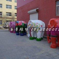 彩色大象雕塑玻璃鋼彩繪雕塑