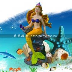 彩繪美人魚雕塑玻璃鋼卡通雕塑