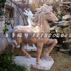 公園小馬雕塑晚霞紅石雕馬