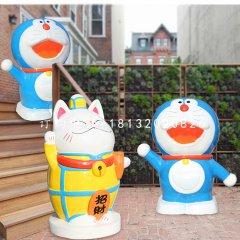 招財貓雕塑,玻璃鋼機器貓雕塑