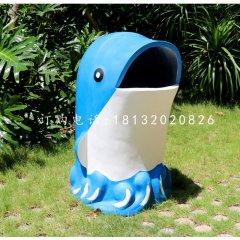 海豚造型垃圾桶雕塑,玻璃鋼卡通垃圾桶