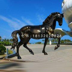 玻璃钢奔马雕塑,广场动物雕塑