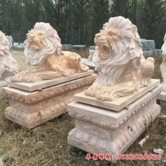晚霞红欧式狮子石雕
