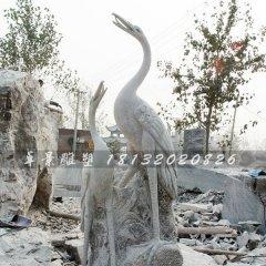公園動物石雕,大理石仙鶴