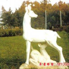 母子鹿石雕,漢白玉動物雕塑