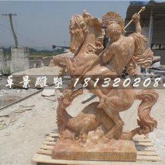 西方人物騎馬石雕,晚霞紅景觀石雕