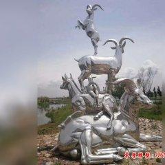 公园动物不锈钢羊雕塑