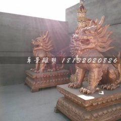 門口鑄銅麒麟古代神獸雕塑