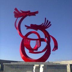 广场不锈钢抽象双龙雕塑