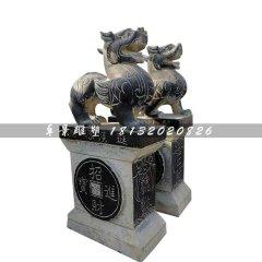 招財貔貅石雕,青石神獸雕塑