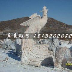 晚霞红古代神兽凤凰石雕