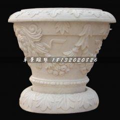 汉白玉欧式花盆花钵石雕