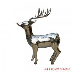 不锈钢公园动物镜面梅花鹿雕塑