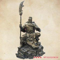 銅雕坐式持刀關公雕塑