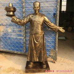 玻璃鋼仿銅人物迎賓店掌柜雕塑