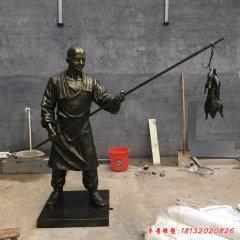 玻璃鋼仿銅烤鴨民俗人物雕塑