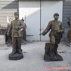 玻璃鋼仿銅校園名人雷鋒雕塑