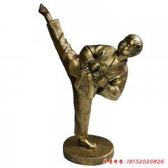 玻璃鋼仿銅跆拳道孩童雕塑