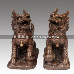 腳踩錢幣的麒麟銅雕,銅雕神獸