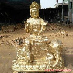 銅雕宗教廟宇乘大象的普賢菩薩