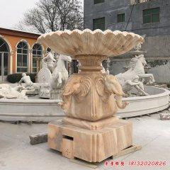 公园晚霞红大象喷泉雕塑