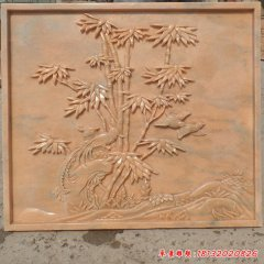 公园竹子凤凰石浮雕