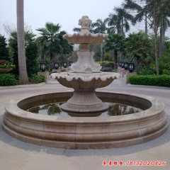 石雕双层马头浮雕欧式喷泉
