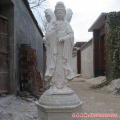 汉白玉三面观音石雕