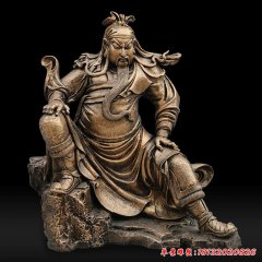 鑄銅坐式關公武財神雕塑