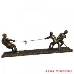 铜雕公园拔河儿童童趣雕塑