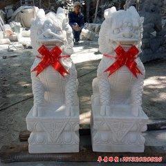 漢白玉酒店企業門口麒麟雕塑