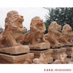 晚霞红企业门口西洋狮子雕塑