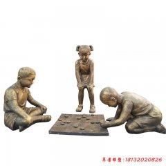公园下象棋儿童铜雕