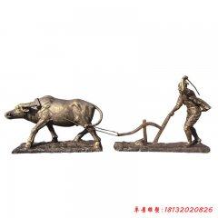 玻璃鋼仿銅耕地牛農耕文化雕塑