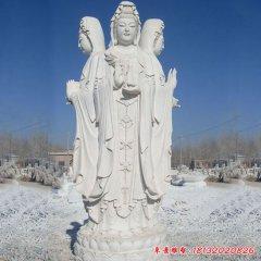 漢白玉宗教廟宇三面觀音