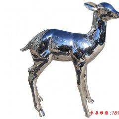 不锈钢公园镜面小鹿雕塑