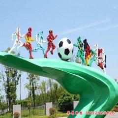 不銹鋼抽象足球運動人物雕塑
