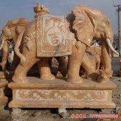 晚霞红吉祥如意大象石雕