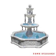 汉白玉三层欧式喷泉石雕