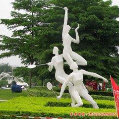 不銹鋼打羽毛球運動人物雕塑