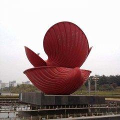 广场不锈钢贝壳喷泉雕塑
