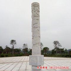 广场大理石12生肖浮雕文化柱