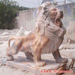 晚霞红欧式西洋狮子石雕