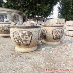梅兰竹菊浮雕水缸石雕