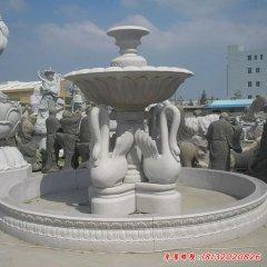 双层天鹅喷泉石雕